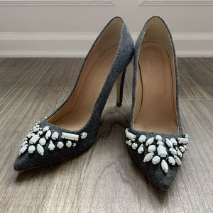 J. Crew Italian leather/wool embellished heels